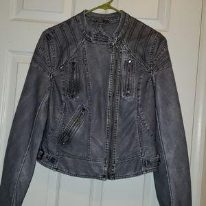 NEW NWT Jou Jou Vegan Faux Leather Moto Jacket